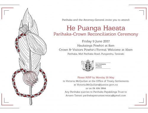 He Puanga Haeata – Parihaka-Crown Reconciliation Ceremony